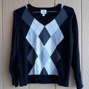 FINAL MARKDOWN St.John's Bay argyle sweater PXL